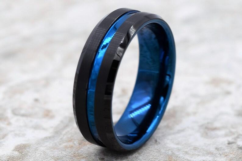 Tungsten Band Blue Tungsten Ring Personalized Engraving Tungsten Wedding Band Men/'s Black Wedding Band Black Tungsten Ring Tungsten