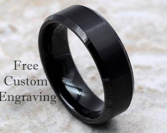 Tungsten Ring, Men's Tungsten Wedding Band, Men's Black Wedding Band, Black Tungsten Ring, Tungsten, Tungsten Band, Personalized Ring