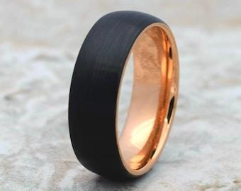 Tungsten Ring, Men's Tungsten Wedding Band, Men's Wedding Band, Black Tungsten Ring, Rose Gold Tungsten Ring, Rose Gold Tungsten Band, Ring