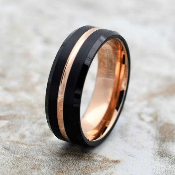 Tungsten Ring, Men's Tungsten Wedding Band, Men's Black Wedding Band, Black Tungsten Ring, Rose Gold Tungsten Ring, Rose Gold Band, Black