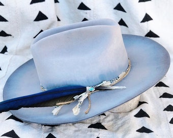 9416ec615e9 Vintage Bailey hand-dyed + hand-reshaped sky blue cowboy hat w  handmade hat  band   vintage sterling and turquoise brooch   Size 7 1 4