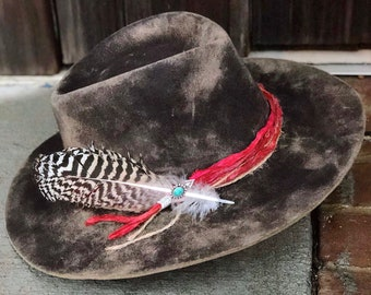 94f07e7ebc375 Vintage Stetson 4X hand-dyed   hand-reshaped faded smoke rancher w   handmade hat band