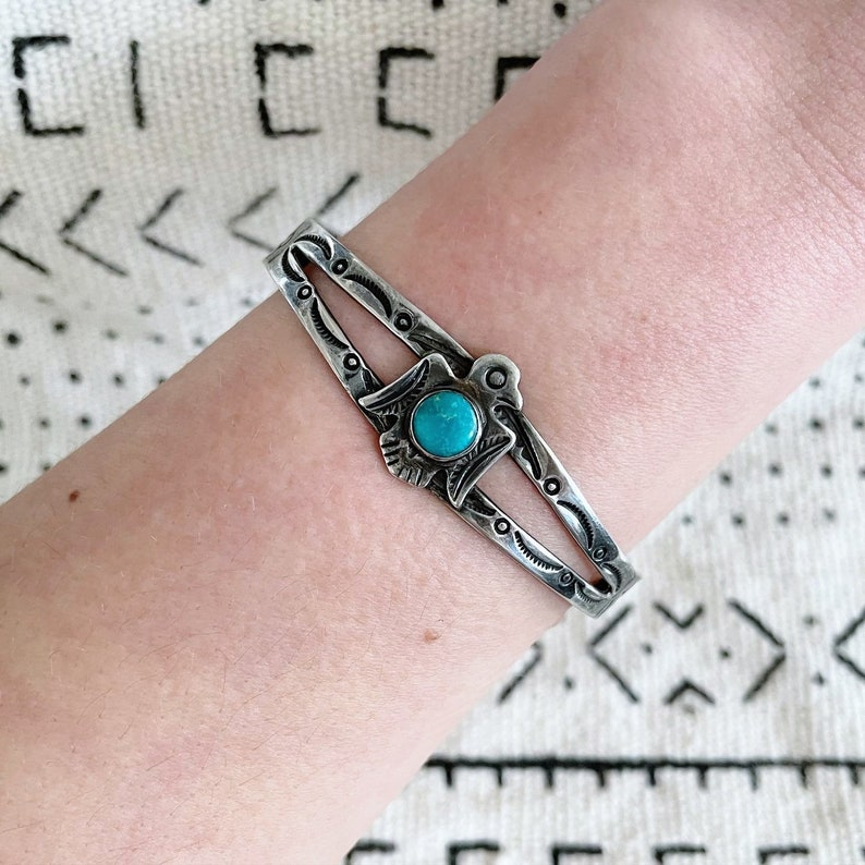 Vintage Fred Harvey era sterling silver and turquoise thunderbird stacking cuff bracelet with stamped detail
