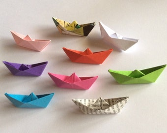 912e348d616 MAP Origami Paper Boats. Paper Origami. Party Table Decor. Party favors.  Tiny Boats.