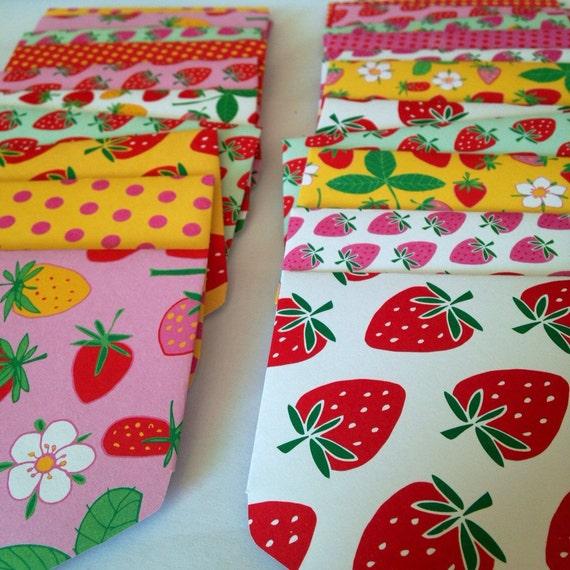Carte De Visite 10 Mignon Mini Enveloppes La Main Taille Fraises Rose Merci Cartes