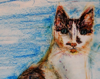 Custom pet portraits with oil pastel. Brooks the cat