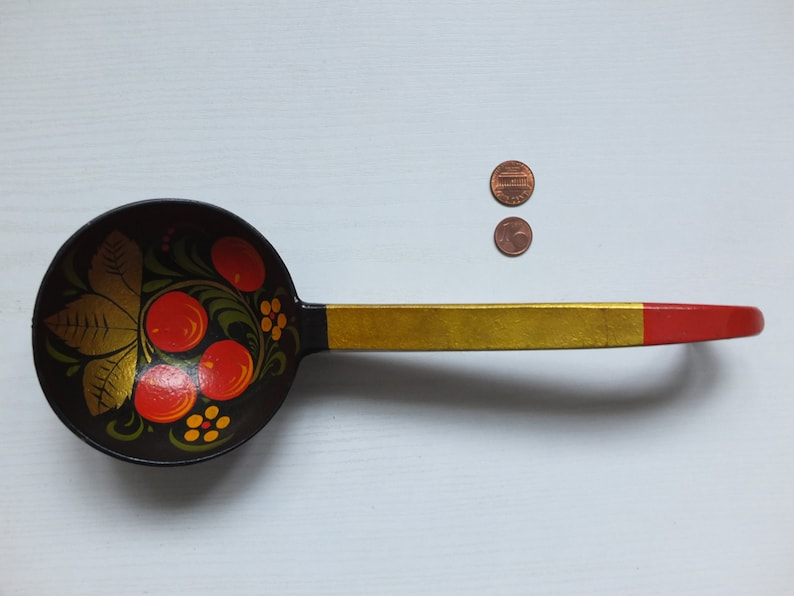 Vintage Soviet Russian KHOKHLOMA Hand Painted Large Scoop Ladle Serving Spoon