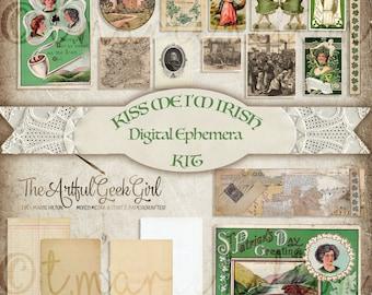 Kiss Me I'm Irish Digital Vintage Ephemera Kit