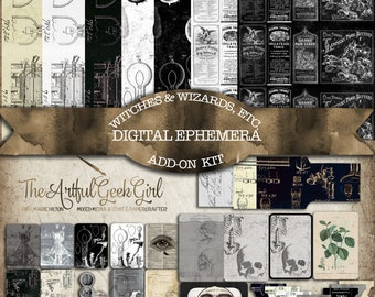 Witches & WIzards, Etc. Digital Ephemera Add on Kit for Junk Journals, Papercraft and Scrapbooking