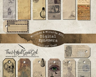 Witches, Wizards, ETC. Digital Ephemera Vintage Tags Kit for Junk Journals, Scrapbooking, Planners and Papercrafting