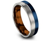 Silver Blue Tungsten Wedding Band Mens Wedding Ring Copper Tungsten Ring Engraved Ring Promise Ring Sets His and Her All Size