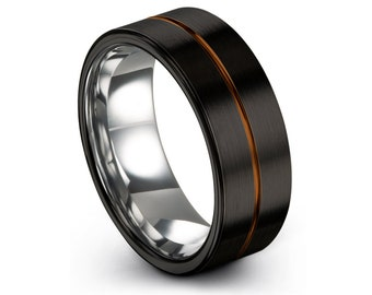 For Engagement Silver Tungsten Unisex Wedding Ring Free Custom Engraving Brushed Center and Black Wedding Band Anniversary or Gift