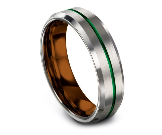 Personalized Ring Silver | Rings for Women | Copper Tungsten Carbide Wedding Ring | Thin Green Line Engraving | Fathers Day Gift