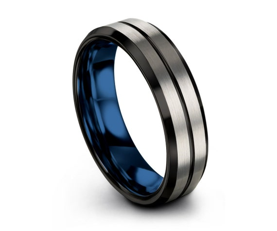 Blue Brushed Mens Wedding Band, Silver Male Ring, Tungsten Carbide 8mm 6mm, FREE Personalized Engraving with Fast Shipping