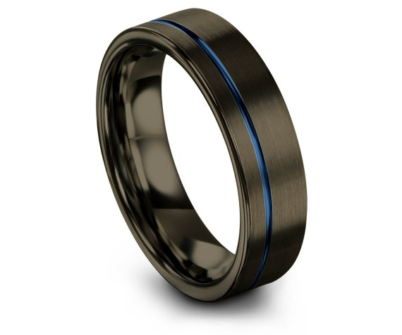 Offset Blue Engraved Ring | Mens Gunmetal Wedding Ring | Tungsten Ring for Men | Fathers Day Gift Idea | Comfort Fit | Custom Design