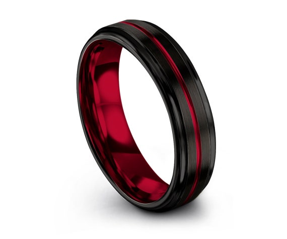Comfort Fit Wedding Band Red,Brushed Black Tungsten Band,Personalized Ring,Tungsten Band For Men,Engagement Ring,Custom,Free Engraving