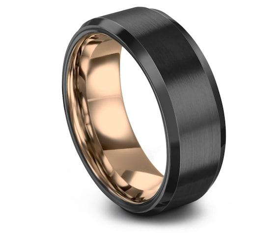 GUNMETAL Tungsten Wedding Band   18K Rose Gold Tungsten Ring   Tungsten Ring  Men   Brushed Tungsten Band   Two Tone Ring   Free Shipping