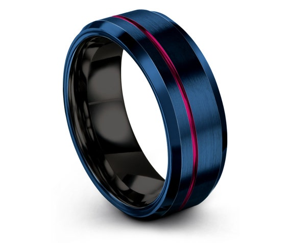 Blue Tungsten Wedding Band | Mens Black Wedding  Ring | Offset Engraving Pink Ring | Women Blue Ring | His and Her | All Size Available