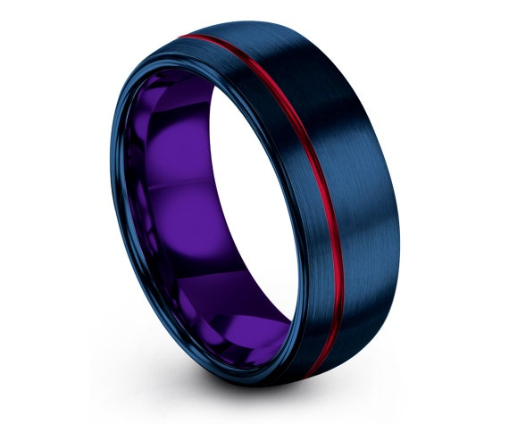 8mm Blue Tungsten Ring Domed,His and Hers Wedding Band,Purple Tungsten Carbide Men Ring,Offset Red Line Engraving,One Of a Kind,Grandma Gift