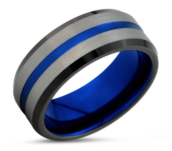 Men & Women Wedding Band | Unique Tungsten Wedding Ring | Thin Blue Line | Modern Blue Promise Ring
