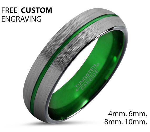 Mens Wedding Band Thin Green Line, Brushed Silver, Wedding Ring, Tungsten Ring 4mm, Personalized Ring, Engagement Ring, Promise Ring
