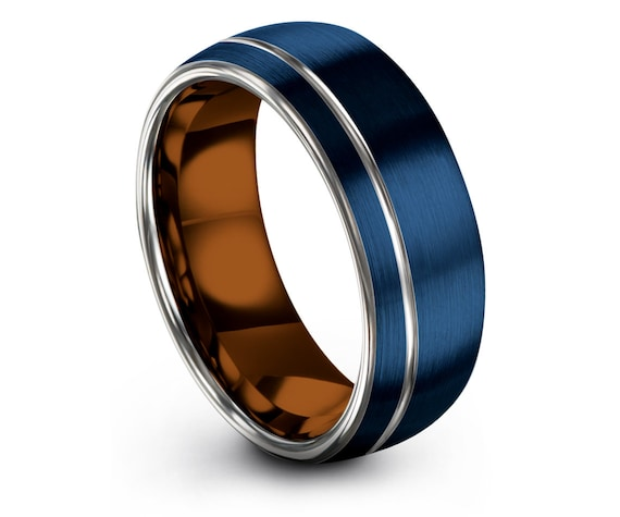 Ring For Mens, Domed Wedding Band Blue,Offset Engraved Silver Line,Copper Engagement Band,8mm Silver Ring,Gift For Him,Personalized Rings