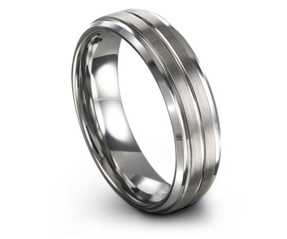 Silver Tungsten Ring, Grey Wedding Band, Silver Rings, Tungsten Band Set, His and Hers, Center Line Engraving, Gifts For Him, 6mm, 8mm
