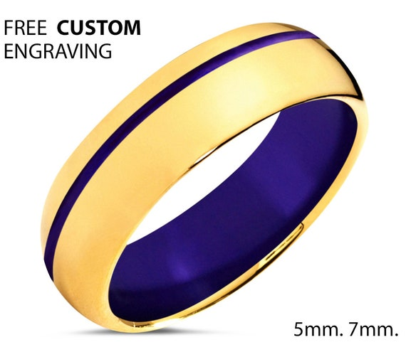Unisex Wedding Band 18k Gold - Men & Women Tungsten Ring with Purple Offset Line and Interior - Hypoallergenic - Promise Ring