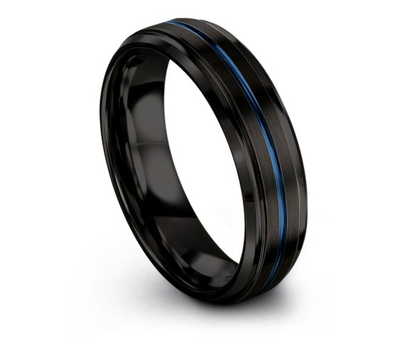 Mens Tungsten Band, Black Wedding Ring, Engagement Ring, Blue Line Engraving, Promise Ring, Personalized Ring, Gifts for Him,Custom Gift