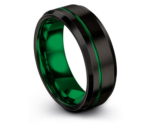 Mens Wedding Band Black,His and Hers Rings,8mm Tungsten Carbide Ring,Personalize,Daddy Gift,Offset Green Line Engraving,Promise Ring