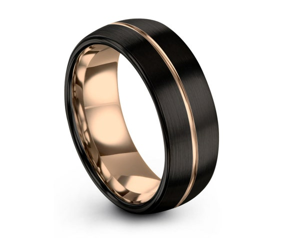 Thin Rose Gold Line Mens Wedding Band, Handmade Personalized Custom Engraving Tungsten Carbide Engagement Jewelry Ring for Him Free Shipping