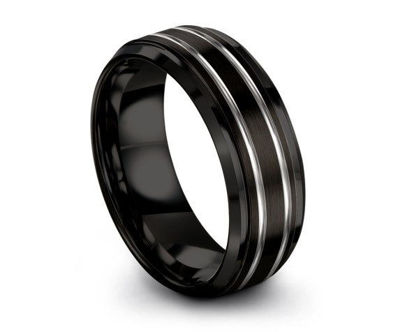 8mm 10mm Beveled Black Tungsten Wedding Band | Silver Line Engraving Ring | Unique Men Ring | Sister Infinity Ring | Rings For Women