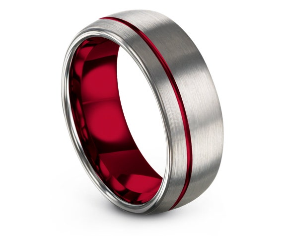Personalized Wedding Band 8MM,Domed Engagement Ring,Tungsten Ring Set,Engraved,Silver Grey and Red,Gifts For Boyfriend,Gifts For Mom