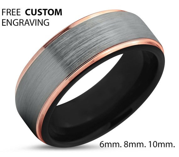 Mens Wedding Band Brushed Silver, Black & Rose Gold Wedding Ring, Tungsten Ring 8mm 18K, Engagement Ring, Promise Ring, Rings for Men