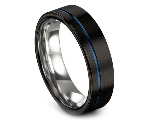 Black Brushed With Blue Offset Line Engraving, Tungsten Carbide Ring, Mens Silver Ring, Wedding Band Women, Engagement Gift,Wedding Gifts