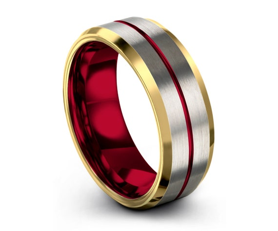 Mens Wedding Band Silver, Tungsten Ring Yellow Gold 18K, Wedding Ring Red 8mm, Engagement Ring, Promise Ring, Rings for Men, Gold Ring