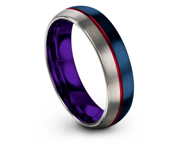 Gifts For Dad | Silver Purple Wedding Band | Blue Tungsten Ring | Center Engraved Ring Red | Ring for Women | Fathers Day | Matching Ring