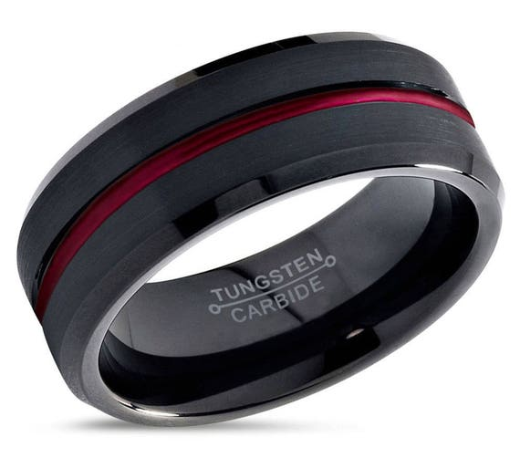 Mens Wedding Band, Tungsten Ring Black Red 8mm, Wedding Ring, Engagement Ring, Promise Ring, Personalized, Gifts for Her, Gifts for Him