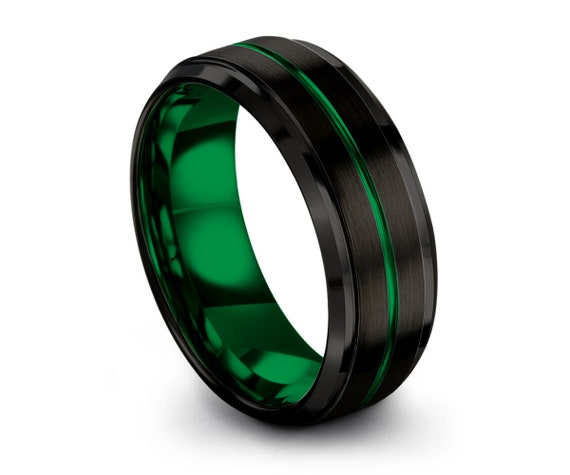 Mens Wedding Band Green, Black Tungsten Ring 8mm, Wedding Ring, Engagement Ring, Promise Ring, Mens Ring, Personalized, Rings for Men