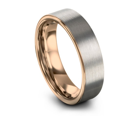 Mens Wedding Band Brushed Silver, Tungsten Ring Rose Gold 18K 6mm, Engagement Ring, Promise Ring, Rings for Men, Rings for Women, Gold Ring