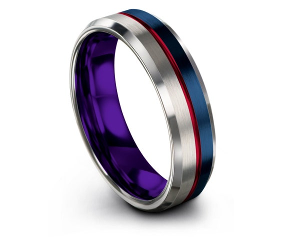 Silver Wedding Band Set 8mm, Brushed Blue Wedding Band, Beveled Purple Tungsten Ring, His and Hers Rings, Center Engraved Ring Red, Custom
