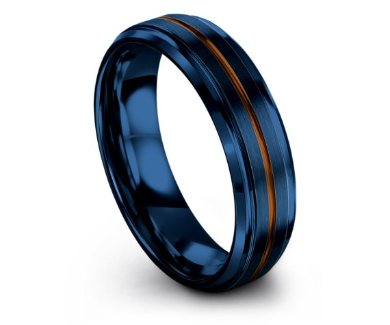 Unique Wedding Gifts   Mens Rings   6mm 8mm   Center Line Copper Engraved   Blue Wedding Band   Promise Rings   Gifts For Her   Personalized
