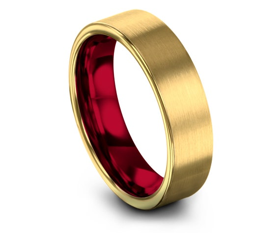 18K Gold Ring | Mens Gold Red Rings | Rings for Women | Tungsten Gold Band | Christmas Gift | Comfort Fit Band | Sister Gift For Wife
