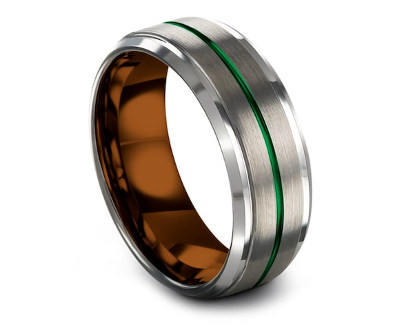 Copper Tungsten Wedding Band, Wedding Band Set, Silver Brushed  Tungsten Band, Tungsten Engagement Ring Green, Rings for Men, All Size 4-15