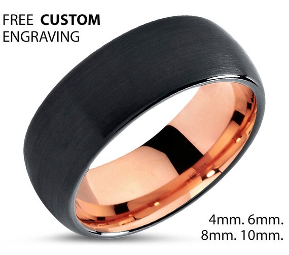 Rose Gold Dome Mens Wedding Band, Black Brushed Tungsten Carbide Ring 6mm or 8mm 18K with Fast Free Shipping and Custom Engraving Available