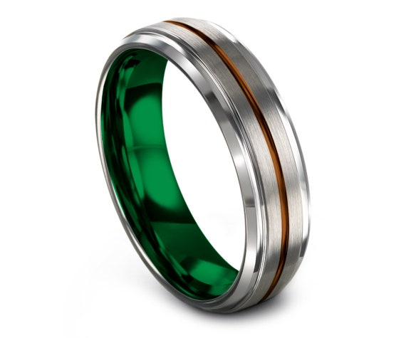 Silver His and Hers Wedding Bands   Green and Copper Wedding Band   Tungsten Band For Men   Tungsten Wedding Band Set   Free Engraving