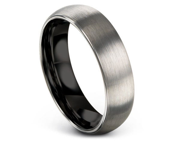 Black and Silver Wedding Band   Tungsten Wedding Band   Domed Tungsten Ring   Men's Tungsten Ring   Couple Promise Ring   Gifts for Him
