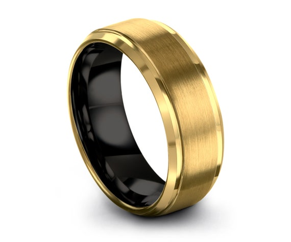 Mens Wedding Band, Tungsten Ring 8mm Yellow Gold 18K, Engagement Ring, Promise Ring, Personalized, Rings for Men, Rings for Women