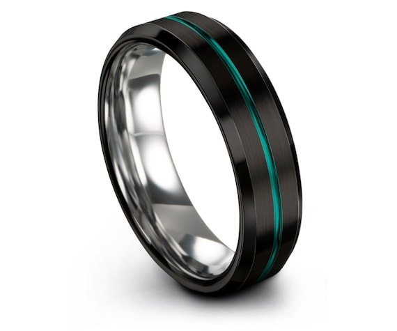 Tungsten Carbide Wedding Band Black,Silver Tungsten Wedding Ring,Center Engraving Teal,Engagement Ring,Anniversary Gifts,Gifts for Him