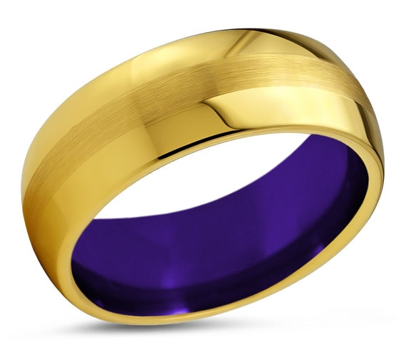 Mens Wedding Band Gold 18k, Tungsten Ring Purple 8mm, Wedding Ring, Engagement Ring, Promise Ring, Rings for Men, Gold Ring, Mens Ring